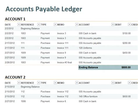 accounts payable ledger template accounting ledger template accounting templates