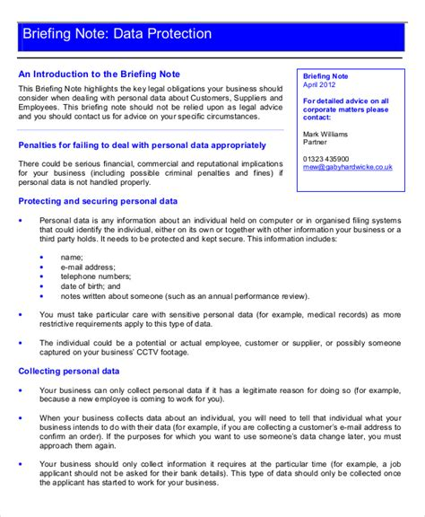 briefing memo template 10 briefing note templates pdf doc free premium