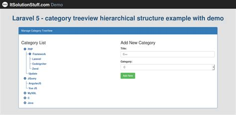 jquery tutorial treeview laravel 5 category treeview hierarchical structure
