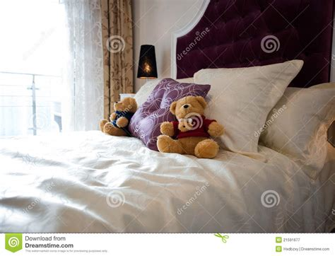 bear bed teddy bear in bed royalty free stock photography image
