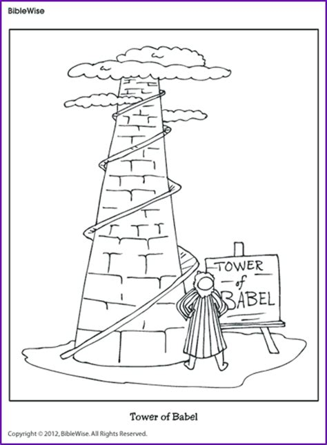 coloring tower of babel kids korner biblewise
