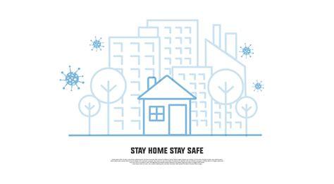 stay home stay safe avoid coronavirus  art banner