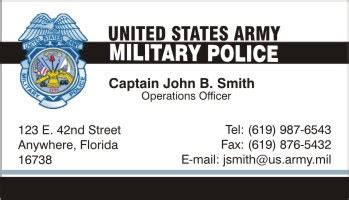 Us Army Business Cards