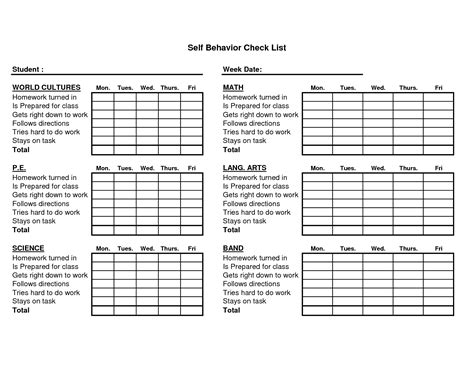 behaviour checklist template homework chart template