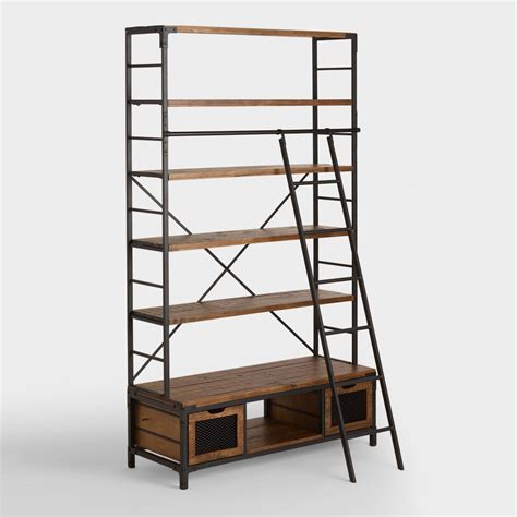bookcase with ladder wood and metal bookcase with ladder world market