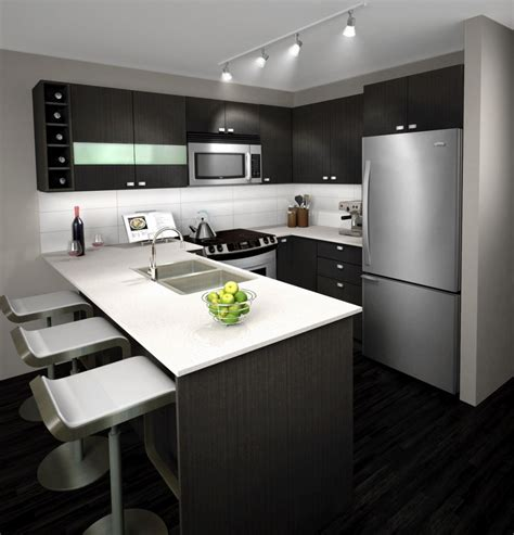 L Shaped Kitchens best kitchen with small bar and refrigerator also gray
