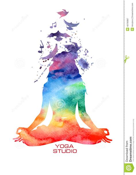 imagenes vectorizadas yoga watercolor woman silhouette of lotus yoga pose stock