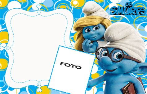 the smurfs free printable invitations or photo frames