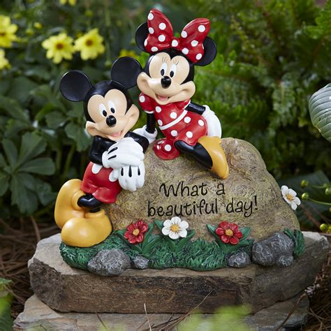 disney garden rock mickey and minnie limited availability outdoor living outdoor decor