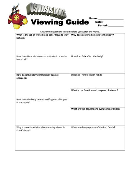 groundhog day viewing worksheet answers osmosis jones worksheet the large and most comprehensive