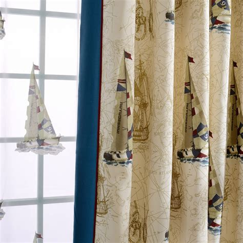 nautical sheer curtains custom beige blue sailboat nautical curtains