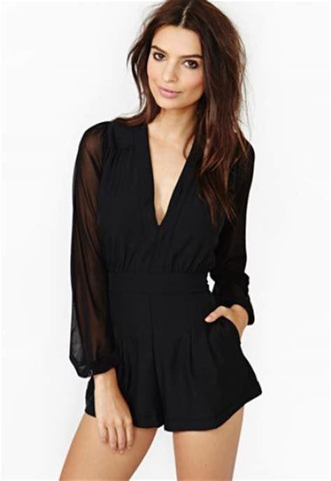 Sleeve V Neck Playsuit black v neck sleeve playsuit sheinside