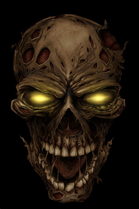 design art zombie zombie skull by flyland designs the unknown realm