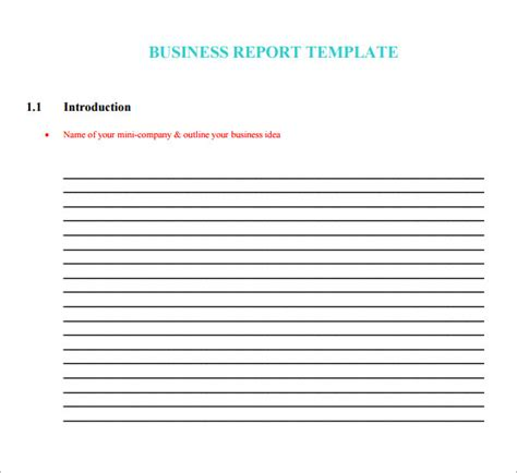 Mini Report Template