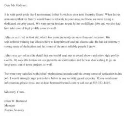free security guard recommendation letter sample for docx