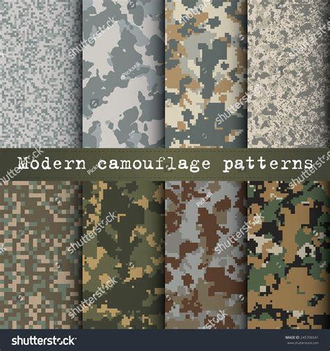 different types of military camouflage patterns daily set of 8 modern camouflage patterns vector 245706541
