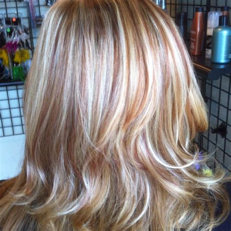 blonde hair with highlights and lowlights red hair red and blonde highlights hair highlights pinterest