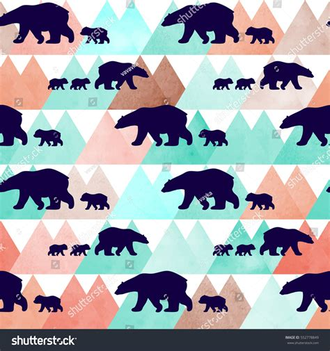 cute mountain pattern cute seamless pattern winter polar bear stock vector