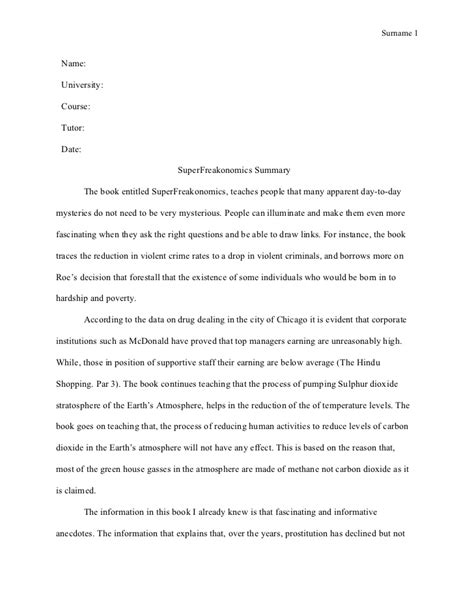 Mla Summary Template Mla Style Course Work Super Freakonomics Summary