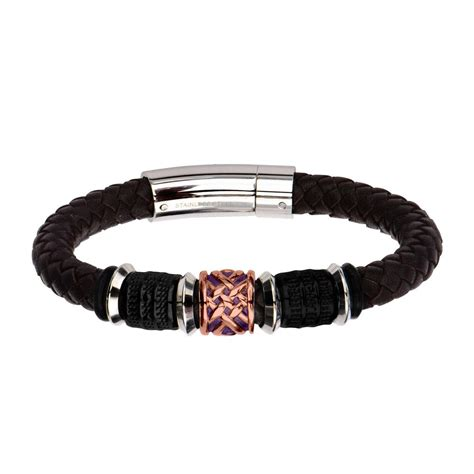 brown braided genuine leather bracelet