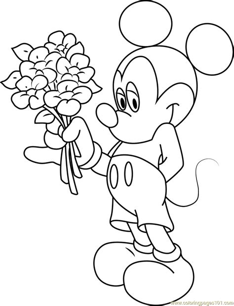 mickey mouse hand coloring pages mickey mouse having flowers in hand coloring page free