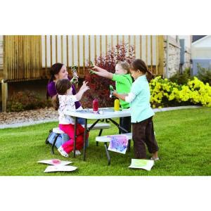lifetime kids picnic table with benches lifetime 35 1 2 in x 32 1 2 in kids picnic table with