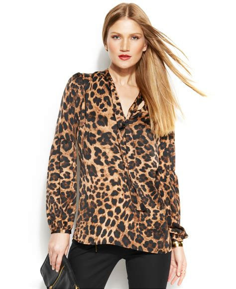 Animal Print Blouse by Animal Print Tie Neck Blouse Blue Denim Blouses