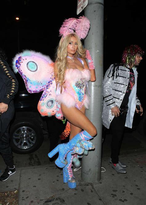 paris hilton arrives  mathew morrisons halloween bash  peppermint nightclub  los angeles