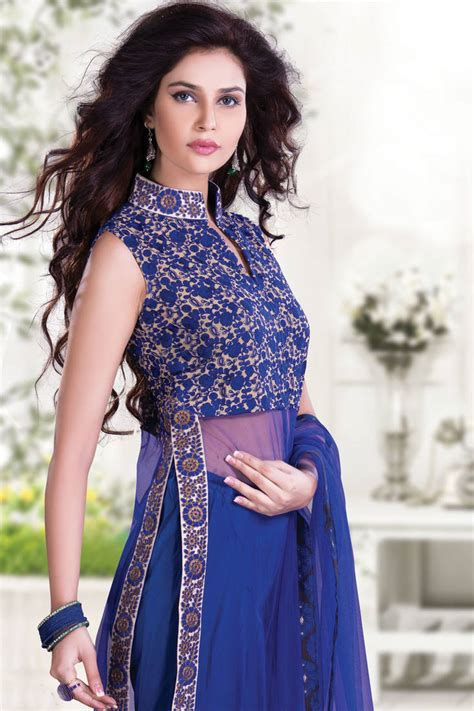girls dess plazo dess photo buy blue thread worked net indo western chudidar with