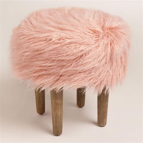 blush pink fur chair blush flokati stool blush wool and piano bench