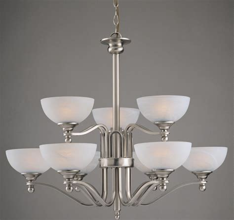 Texas Large Satin Nickel Two Tier 9 Light Art Deco Style Deco Style Chandelier