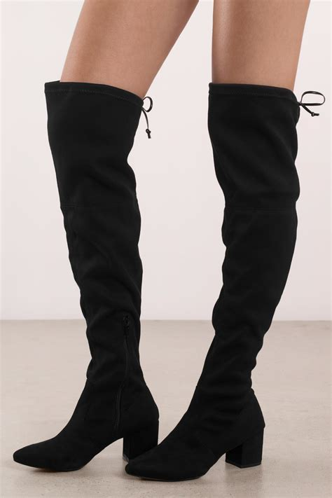 black faux suede knee high boots tobi