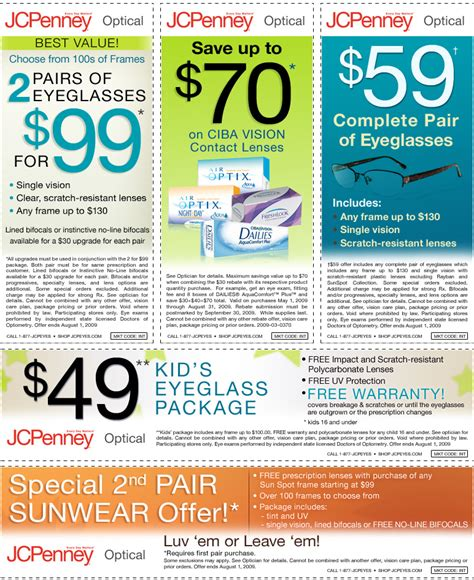 jcpenney optical coupons printable jcpenney 49 children eyeglasses exp 8 1 09 the