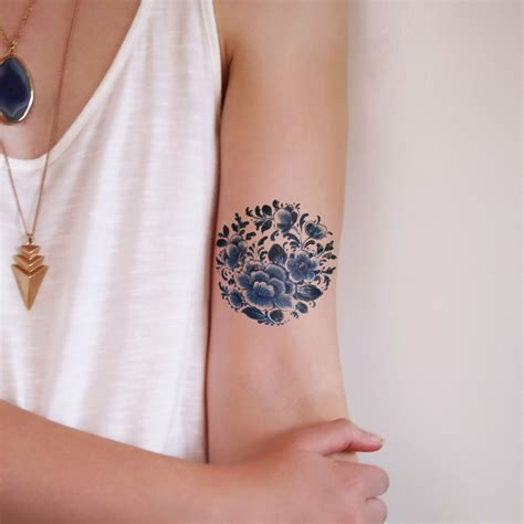 floral temporary tattoos delfts blue delft floral and