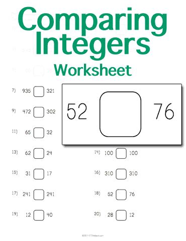 comparing integers worksheet customize and print