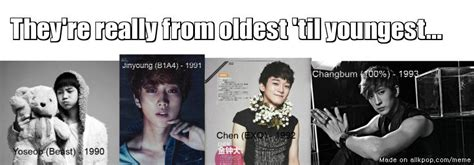 exo youngest to oldest they re really from oldest til youngest allkpop meme