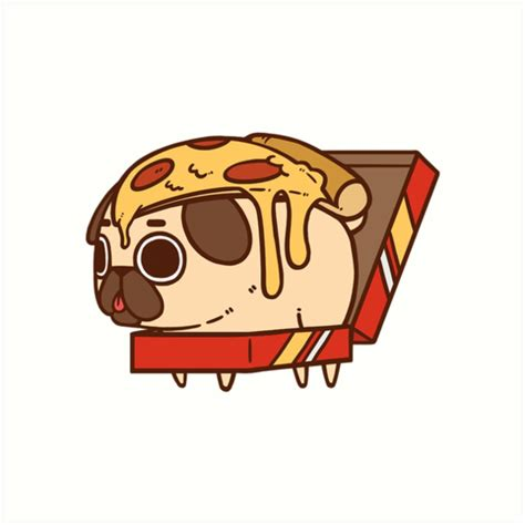 Character Wall Stickers quot puglie pizza quot art prints by puglie pug redbubble