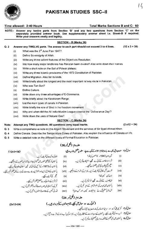 Pakistan Studies Past Old Papers of Federal Board 10th Matric 2014-15