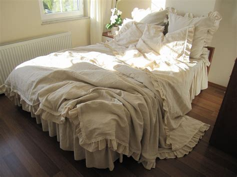 king duvet cover shabby chic bedding beige ecru neutral woven cotton linen blend buldan