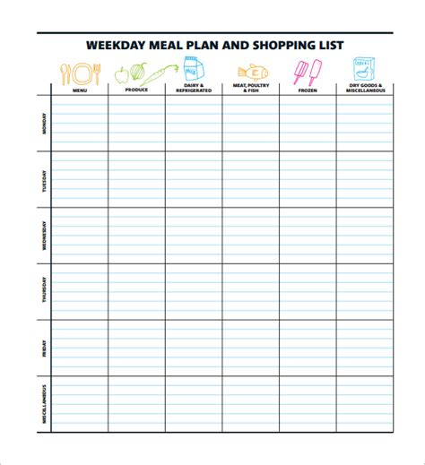 weight watchers menu planner template weight watchers menu planner template shatterlion info