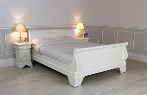 new solid mahogany white sleigh bed 5ft king size