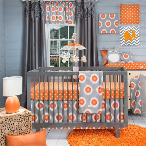 nursery bedding and curtain sets baby nursery unique baby nursery room decoration with grey and orange theme complete with