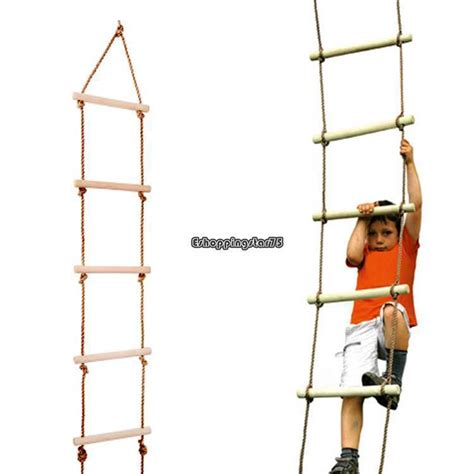 swing set rope ladder rope ladder wooden for kids 5 rungs 6 ft swing seat set