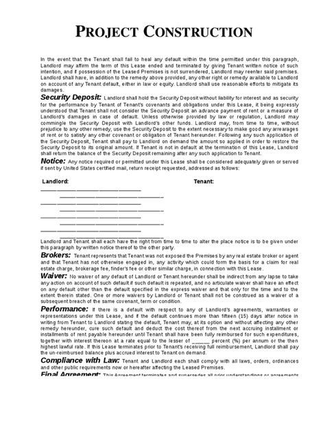 Construction Contract Template Real Estate Forms Construction Contract Template