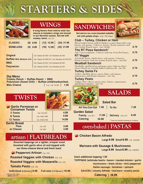Table Menu by Table Pizza Menu Prices