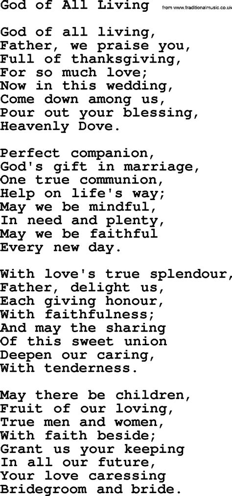wedding song lyrics and chords wedding hymns and songs god of all living txt lyrics
