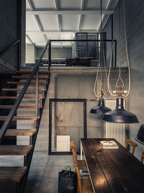 industrial interior deep concrete shadows private house loft pinterest