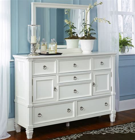 White Dresser by White Bed With Storage Footboard By