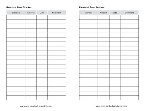 workout tracking sheet for workout sheets personal best tracking