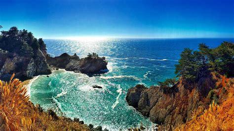 wallpaper mcway falls ocean big sur california